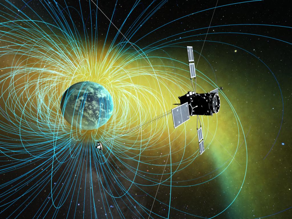 Japoński satelita Arase, przeznaczony do badania pasów radiacyjnych wokół Ziemi. Rys. ISAS/JAXA