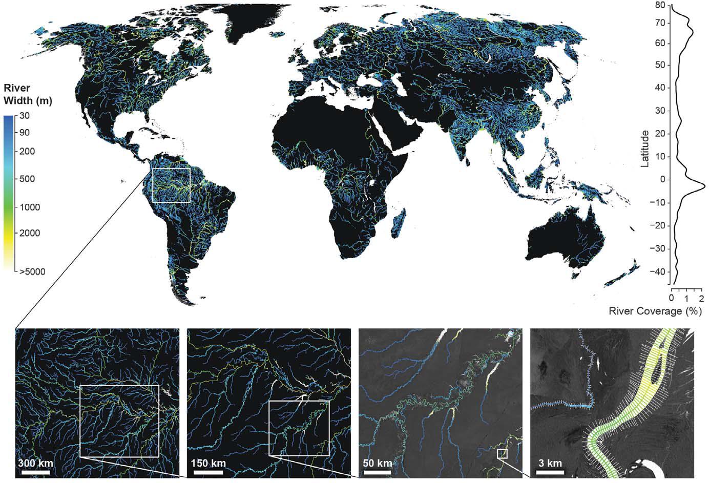 Szerokość największych rzek na Ziemi. W dolnej części grafiki, w powiększeniu pokazano jak ocena szerokości rzek wyglądała dla fragmentu Amazonki. Rys. Allen i Pavelsky, 2018.