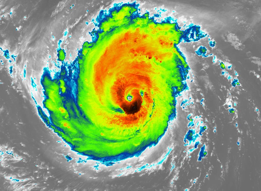 Huragan Florence – mapa termiczna uzyskana sensorem VIIRS. Rys. NOAA/NASA/UWM-SSEC-CIMSS/ William Straka III