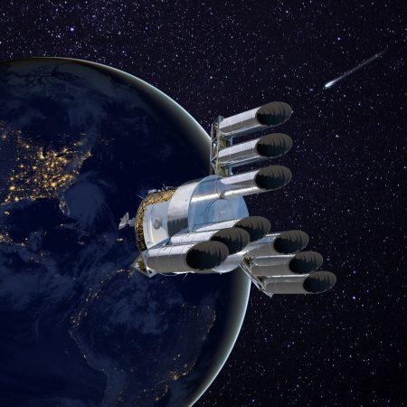 Możliwy wygląd teleskopu planetarnego w architekturze rozproszonej apertury. Rys. K. Sayanagi / arxiv.org/abs/2008.06816