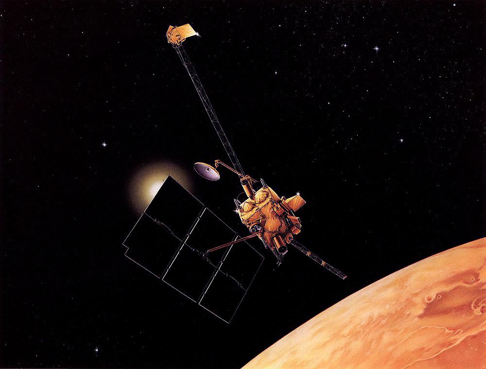 Sonda Mars Observer oczyma wyobraźni grafika NASA. Podłużny złoty cylinder w dolnej części sondy to teleskop szerokokątnej kamery MOC. Rys. NASA