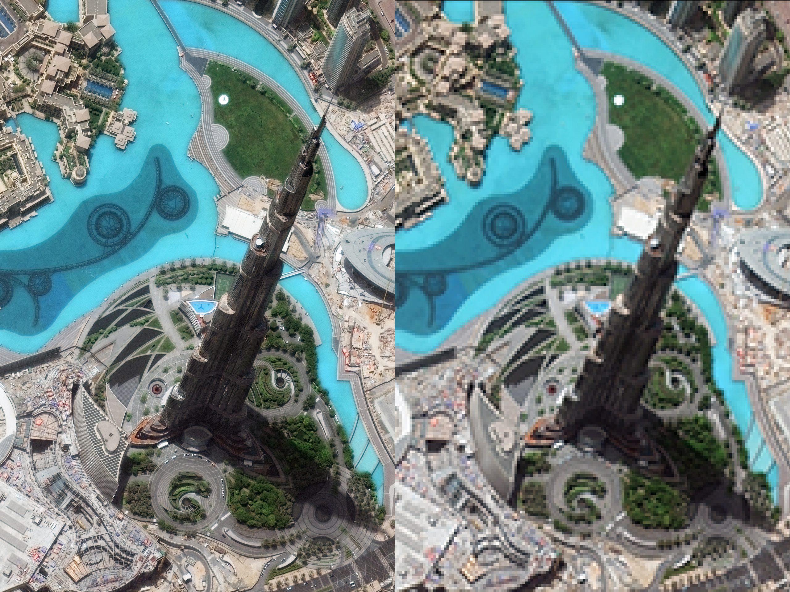 Wieżowiec Burdż Chalifa w Dubaju - po lewej w rozdzielczości około 1 m/piksel, po prawej - w 100 razy mniejszej (10 m/piksel). Fot. DigitalGlobe