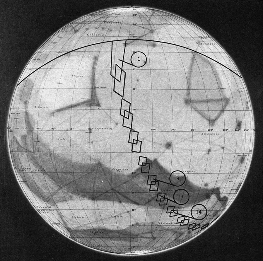 Tak powierzchnię Marsa wyobrażano sobie na początku lat 60., w czasie gdy planeta nigdy wcześniej nie była oglądana z bliska. Czarne ramki wskazują obszary, które zostały sfotografowane przez Marinera-4. Rys. NASA.