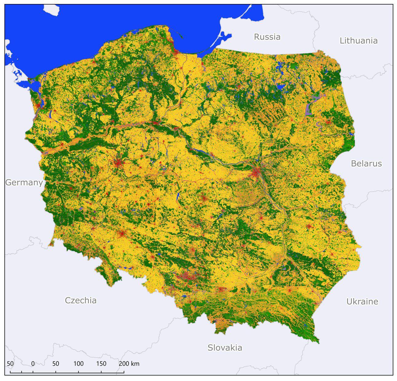 Mapa pokrycia terenu w Polsce opracowana w ramach projektu S2GLC. Rys. CBK PAN