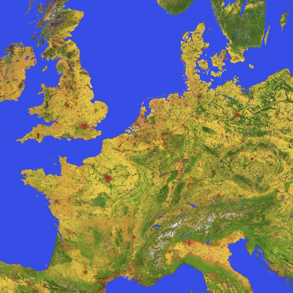 Mapa Europy opracowana przez Polaków dla ESA. Rys. CBK PAN