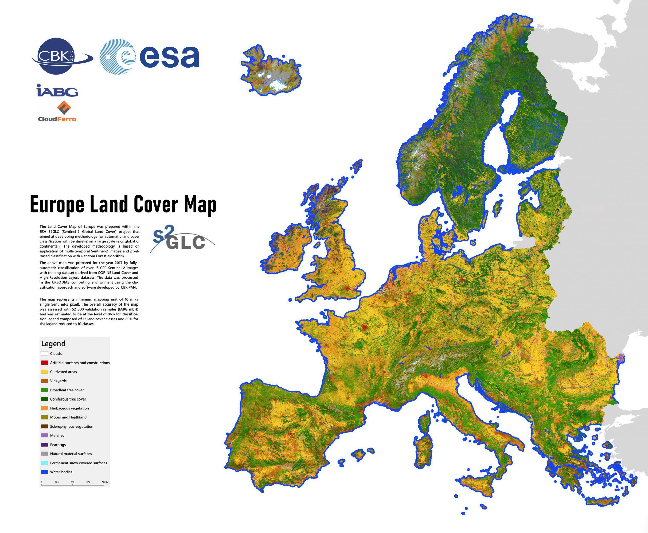 Mapa pokrycia terenu w Europie opracowana w ramach projektu S2GLC. Rys. CBK PAN