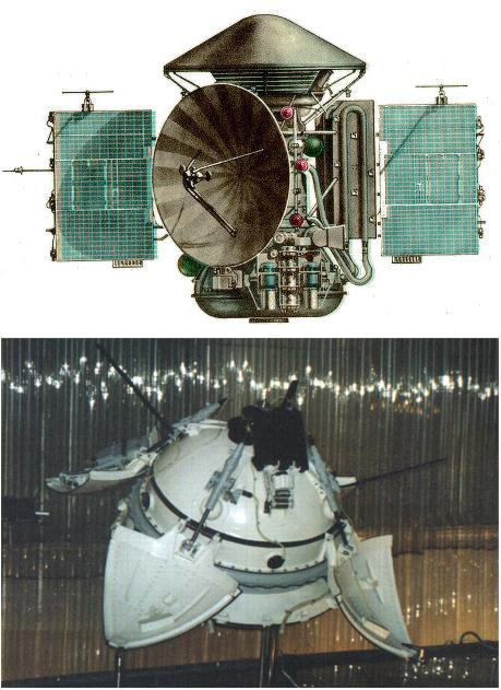 Sonda Mars-3. Na górze: orbiter wraz z lądownikiem (ukrytym w stożkowej osłonie w górnej części sondy). Na dole: orbiter w konfiguracji, w jakiej miał pracować na powierzchni planety. Systemy do obrazowania zainstalowane były w górnej części lądownika. Rys. Wikipedia.