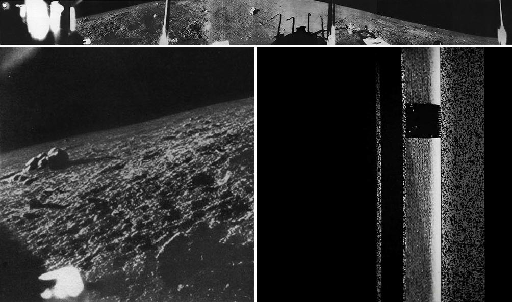 """""""Obraz"""" powierzchni Czerwonej Planety przesłany przez lądownik Marsa-3 (po prawej na dole). Dla porównania, po lewej fragment panoramy Księżyca, uzyskany za pomocą niemal takiego samego sprzętu obrazującego z misji Łuna-9 (na górze cała panoram). Rys. Wikipedia."""