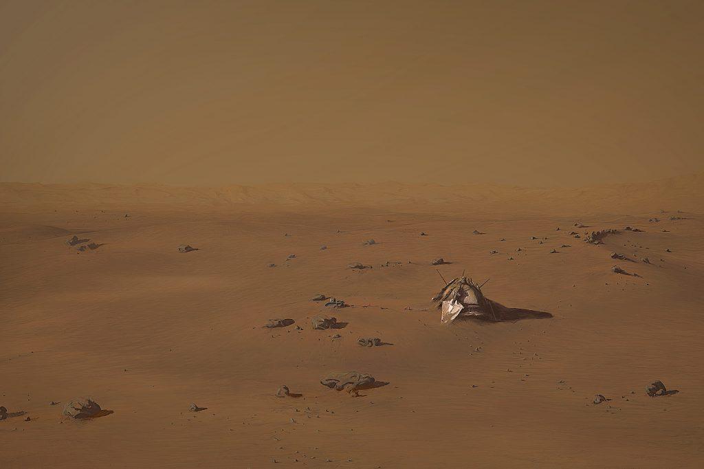 Wizja artystyczna lądownika Mars-3 na Marsie. Ułożenie skał i rzeźba terenu odwzorowane na podstawie faktycznych danych z instrumentów HiRISE (sonda MRO) i MOLA (sonda MGS). Rys. Nick Oberg (za zgodą autora).